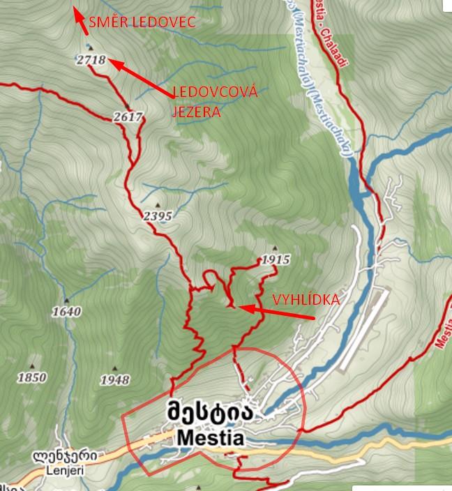 Mapa treku na jezera Koruldi. zdroj: mapy.cz