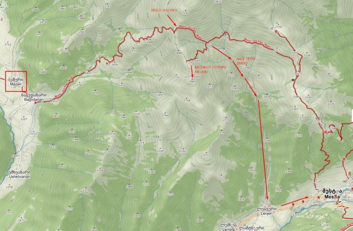 Mapa cesty z Mazeri přes Guli pass do Mestie