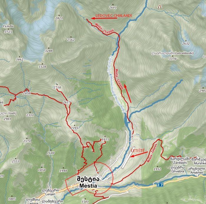 Mapa treku k ledovci Chalaadi